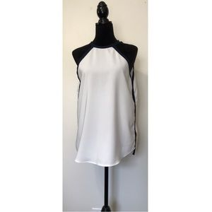 Nasty Gal White Halter Top Blouse Navy Blue Trim M